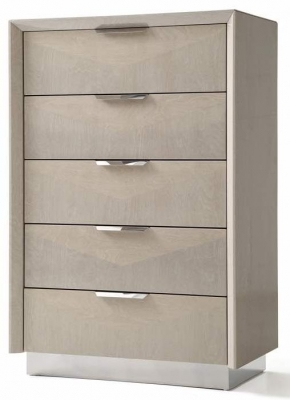 London Cream Walnut High Gloss Chest of Drawer - Tall Wide