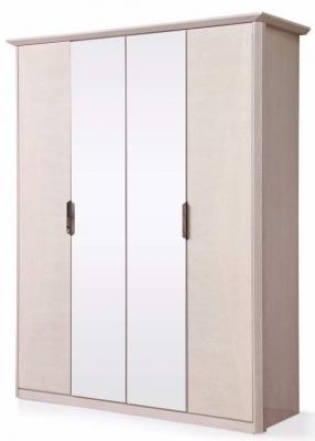 London Cream Walnut High Gloss Wardrobe - 4 Door 2 Mirror