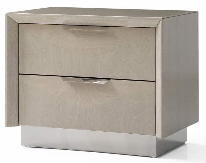 London Cream Walnut High Gloss Bedside Cabinet