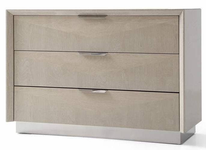 London Cream Walnut High Gloss Chest of Drawer - 3 Drawer