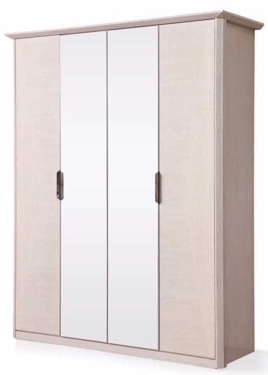 London Cream Walnut High Gloss Wardrobe - 4 Door 2 Mirror