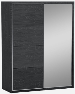 Lutyen Slate Grey High Gloss 2 Door 1 Mirror Door Sliding Wardrobe