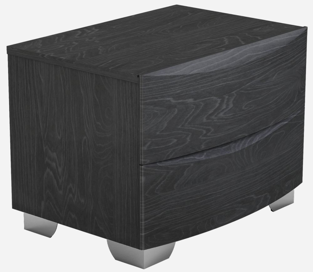 Lutyen Slate Grey High Gloss 2 Drawer Bedside Cabinet