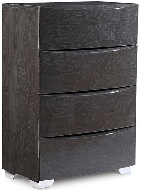 Lutyen Slate Grey High Gloss 4 Drawer Tall Chest