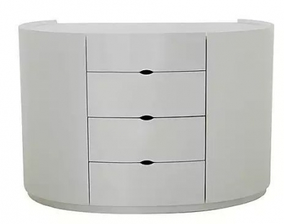 Neptune White High Gloss Chest of Drawer - 4 Drawer