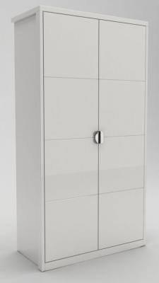 Neptune White High Gloss Hinged Wardrobe - 2 Door