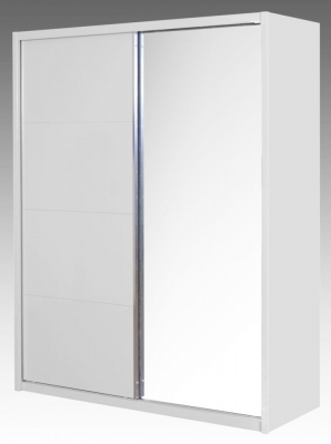 Neptune White High Gloss Sliding Wardrobe - 2 Door Mirror