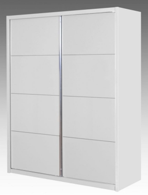 Neptune White High Gloss Sliding Wardrobe - 2 Door