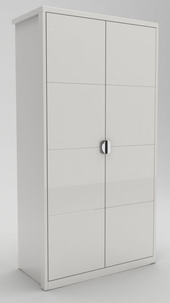 Neptune White High Gloss Hinged Wardrobe - 2 Door