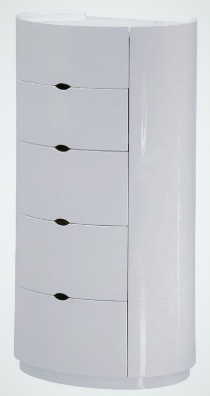 Neptune White High Gloss Chest of Drawer - 5 Drawer