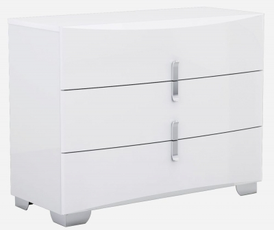 Niomi White High Gloss Chest of Drawer - 3 Drawer