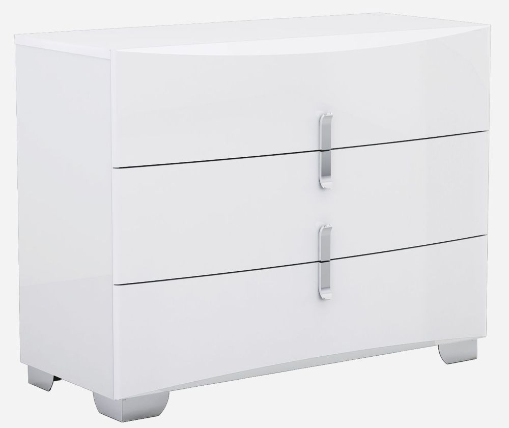 Niomi White High Gloss Chest of Drawer - 3 Drawer