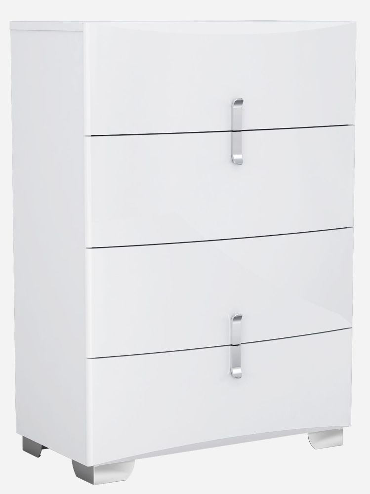 Niomi White High Gloss Chest of Drawer - 4 Drawer