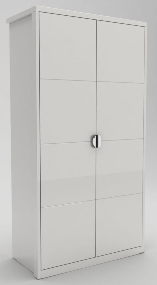 Niomi White High Gloss Hinged Wardrobe - 2 Door