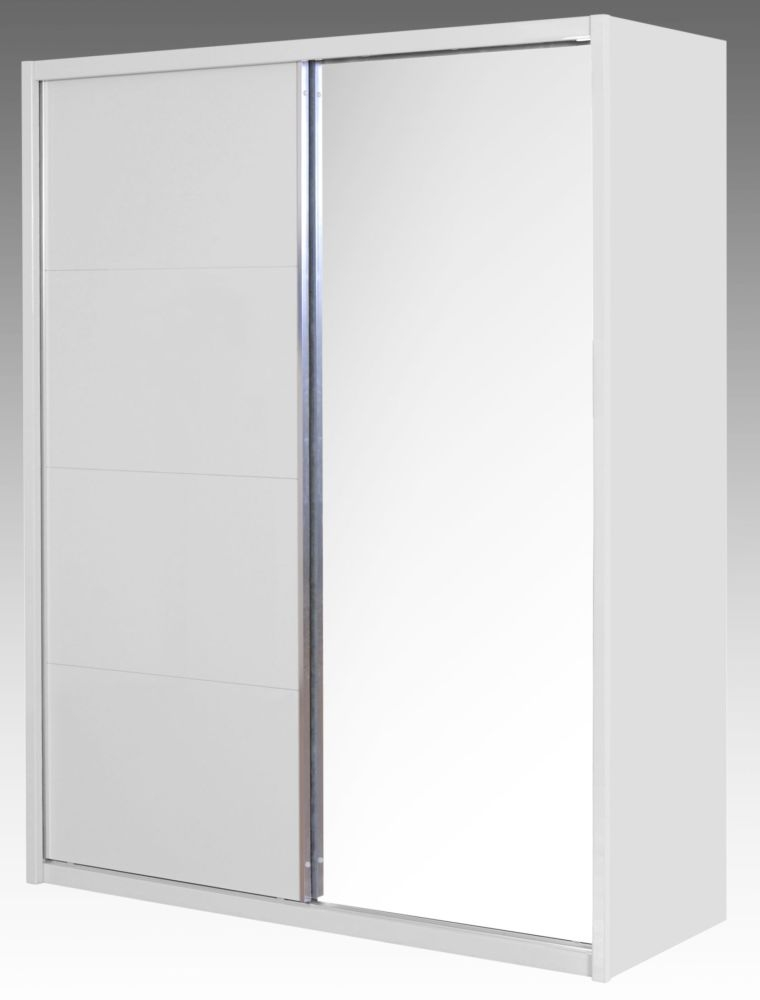 Niomi White High Gloss Wardrobe - 2 Door Mirror