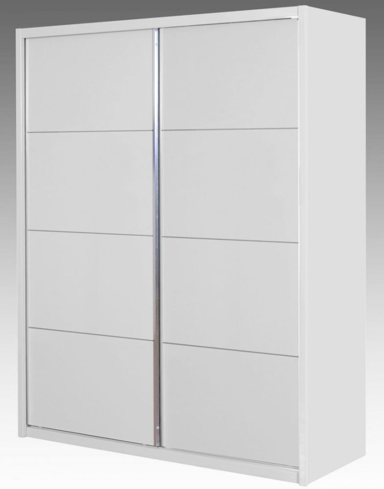 Niomi White High Gloss Sliding Wardrobe - 2 Door