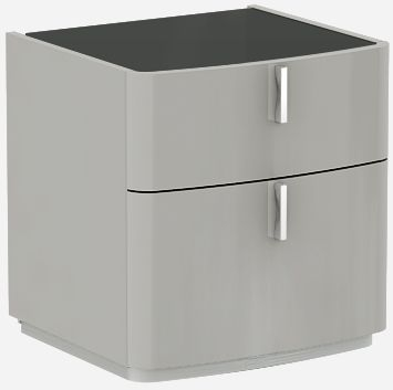 Sabron Cashmere High Gloss 2 Drawer Bedside Cabinet with Black Glass Top