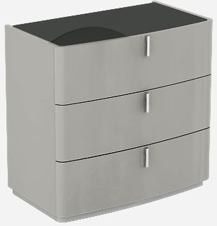 Sabron Cashmere High Gloss 3 Drawer Dresser with Black Glass Top