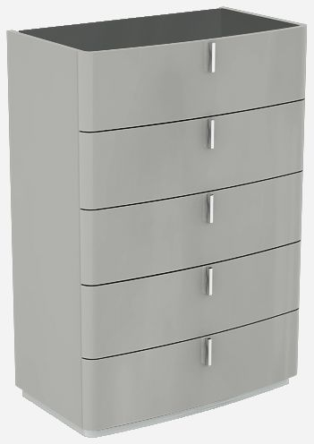 Sabron Cashmere High Gloss 5 Drawer Chest with Black Glass Top