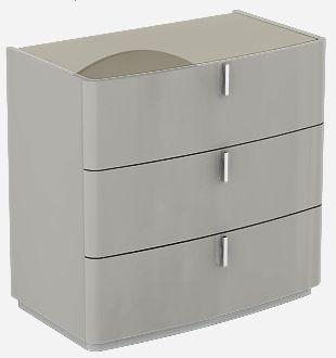 Sabron Cashmere High Gloss 3 Drawer Dresser with Fango Glass Top