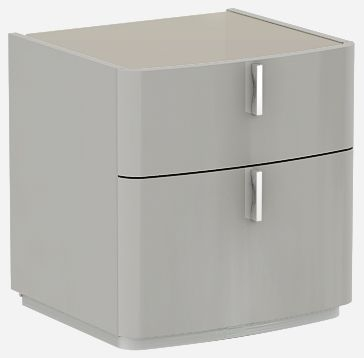 Sabron Cashmere High Gloss 2 Drawer Bedside Cabinet with Fango Glass Top