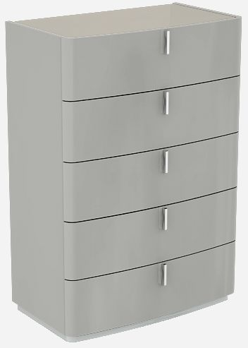 Sabron Cashmere High Gloss 5 Drawer Chest with Fango Glass Top