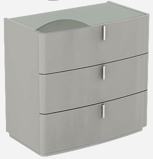 Sabron Cashmere High Gloss 3 Drawer Dresser with Grey Glass Top