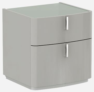 Sabron Cashmere High Gloss 2 Drawer Bedside Cabinet with Grey Glass Top