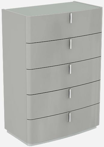 Sabron Cashmere High Gloss 5 Drawer Chest with Grey Glass Top
