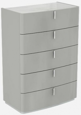 Sabron Cashmere High Gloss 5 Drawer Chest with Marble Effect Glass Top