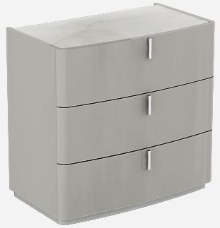 Sabron Cashmere High Gloss 3 Drawer Dresser with Marble Effect Glass Top