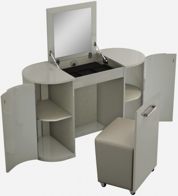 Sabron Cashmere High Gloss 2 Door Vanity Unit with Stool