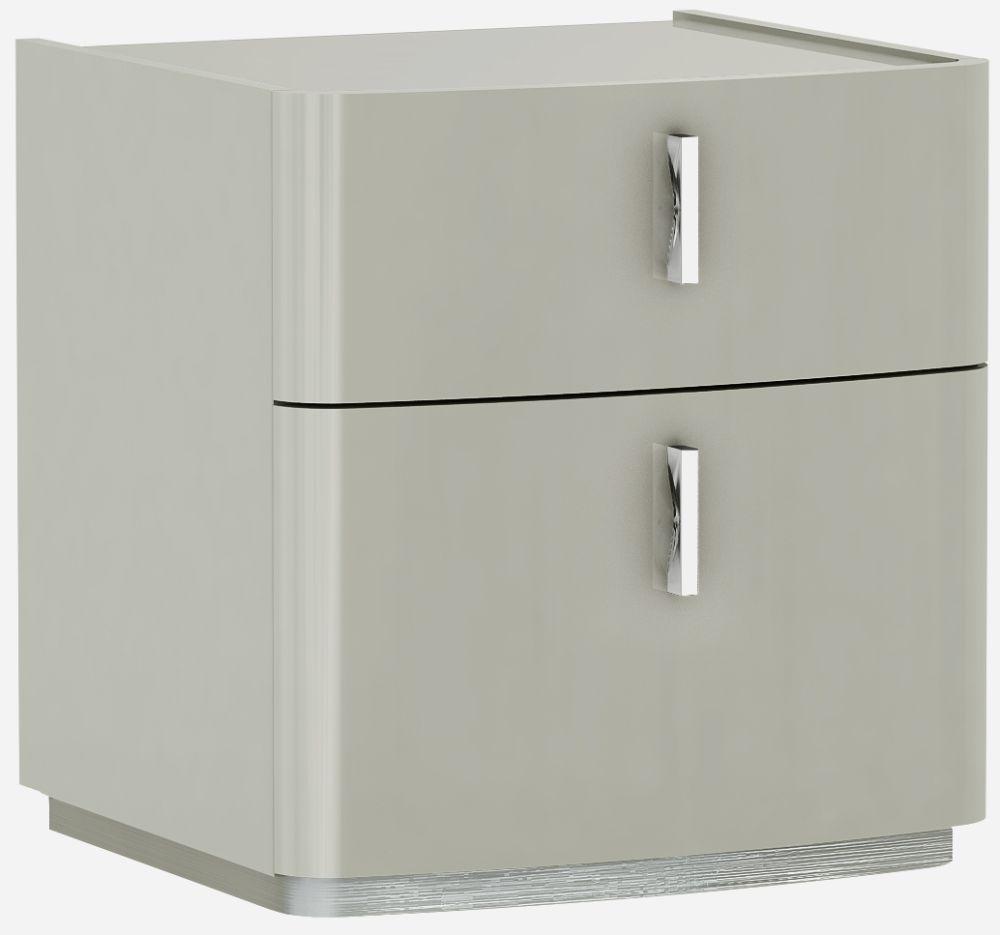 Sabron Cashmere High Gloss 2 Drawer Bedside Cabinet
