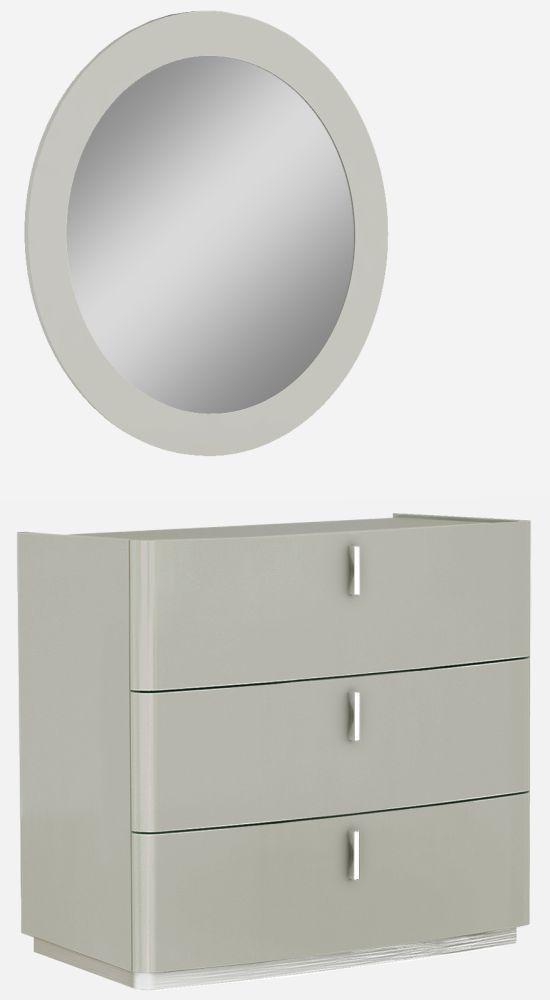 Sabron Cashmere High Gloss 3 Drawer Dresser