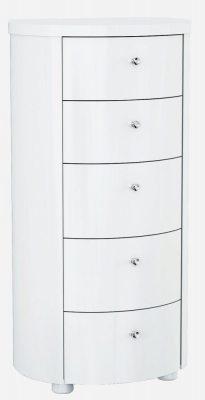 Velour White High Gloss Chest of Drawer - 5 Drawer