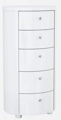 Velour White High Gloss Chest of Drawer - 5 Drawer