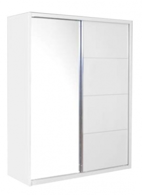 Velour 2 Door White High Gloss and Mirror Sliding Wardrobe