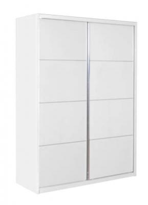 Velour White High Gloss Sliding Wardrobe - 2 Door
