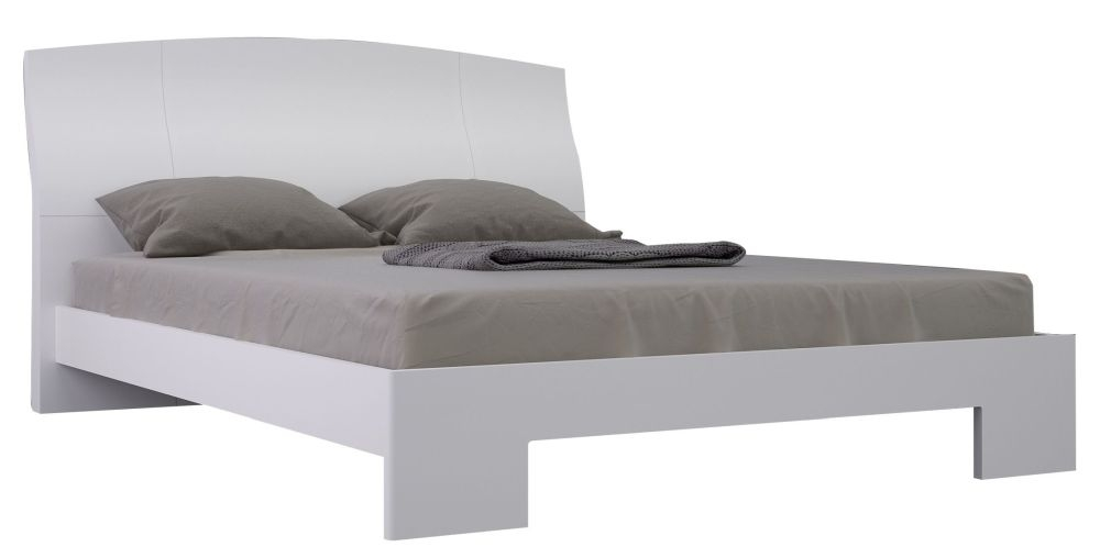 Velour White High Gloss Bed