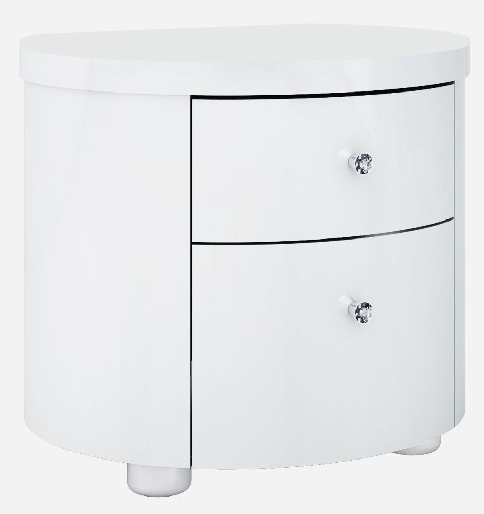 Velour White High Gloss Bedside Cabinet