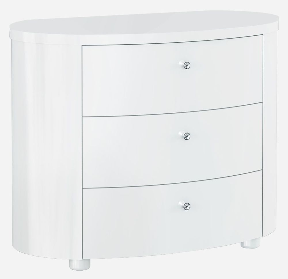 Velour White High Gloss Chest of Drawer - 3 Drawer