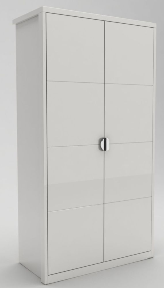 Velour White High Gloss Hinged Wardrobe - 2 Door