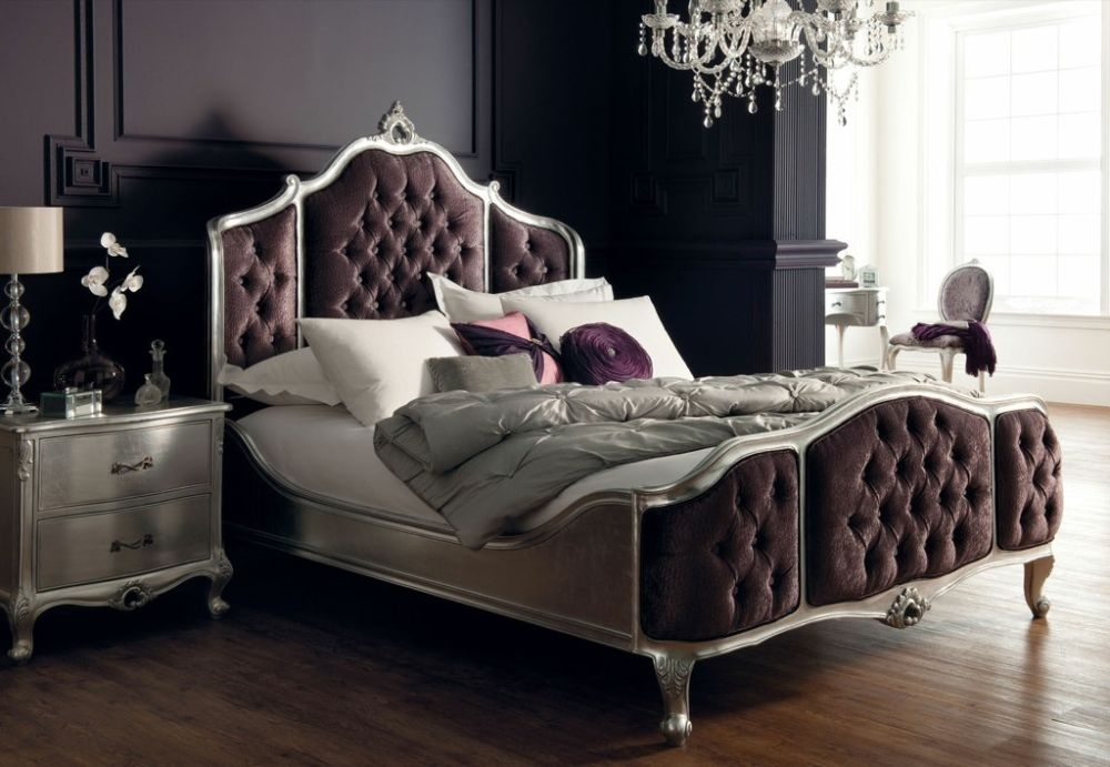 Luxury Rococo Antique Silver Leaf Upholstered Bed