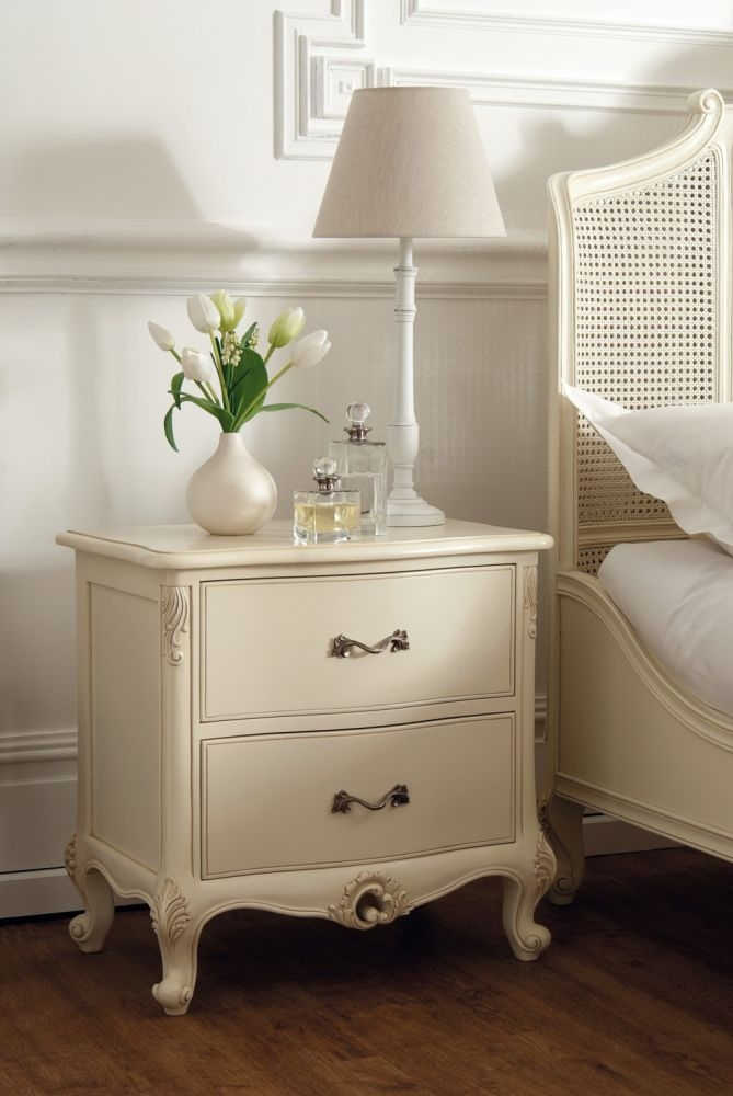 Luxury Rococo Soft White Painted Bedside Cabinet