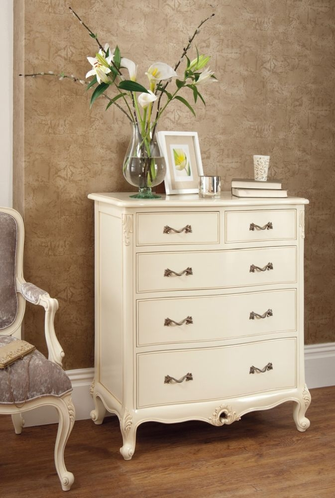 Luxury Rococo Soft White Painted Chest of Drawers
