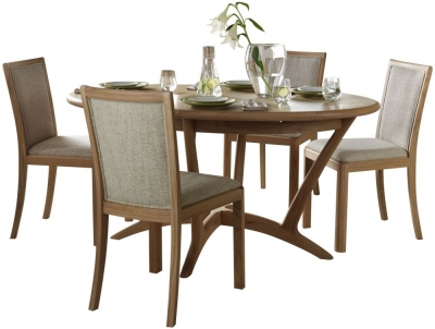 Romana Oak Oval Extending Dining Set with 4 Upholstered Back Fabric Chairs