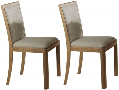 Romana Oak Upholstered Back Fabric Dining Chair (Pair)