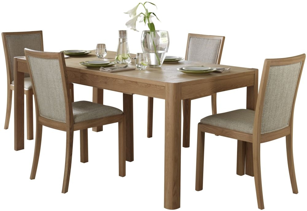Romana Oak Large Extending Dining Set with 4 Upholstered Back Fabric Chairs