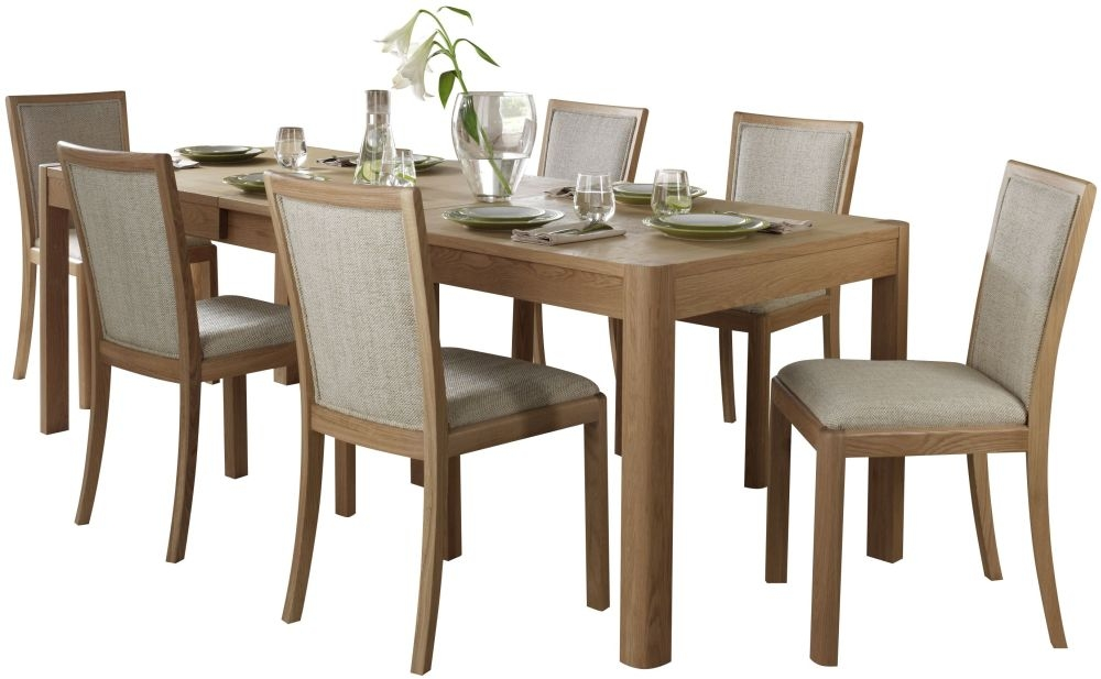 Romana Oak Large Extending Dining Set with 6 Upholstered Back Fabric Chairs