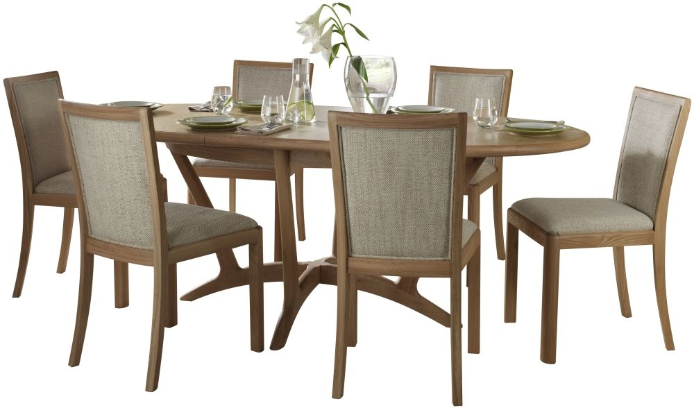 Romana Oak Oval Extending Dining Set with 6 Upholstered Back Fabric Chairs